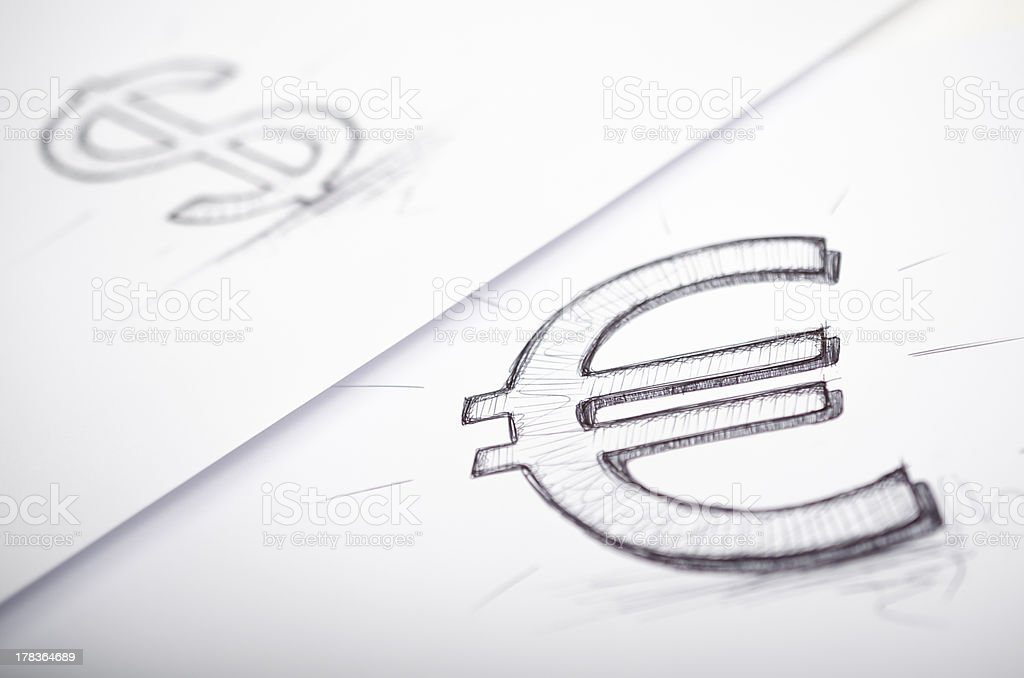 Euro and dollar sign drawn stock photo