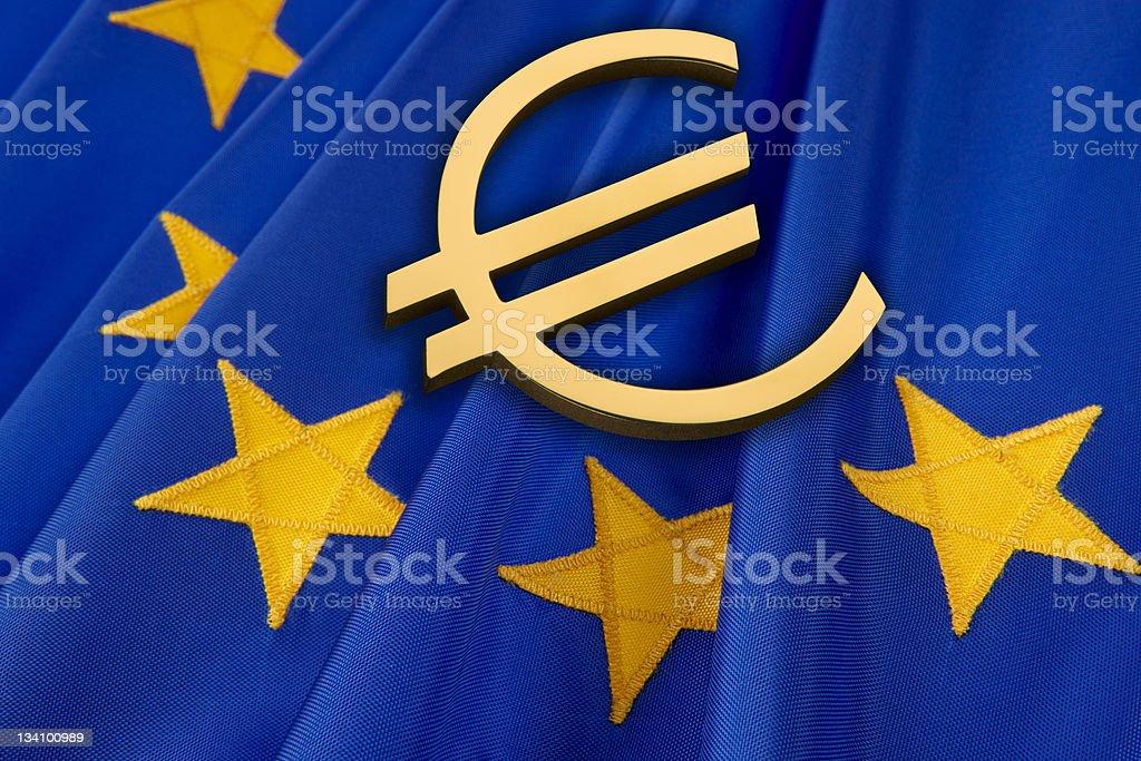 Euro and EU flag royalty-free stock photo