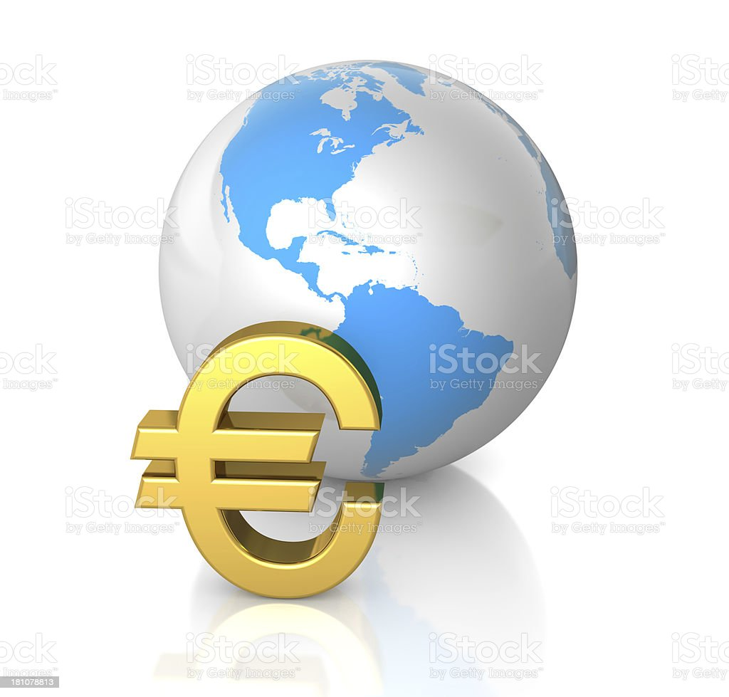 Euro and Globe royalty-free stock photo