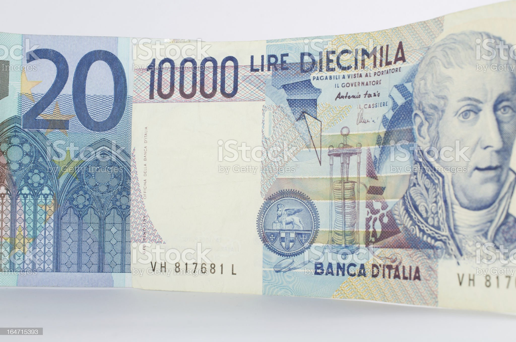 euro and lira royalty-free stock photo