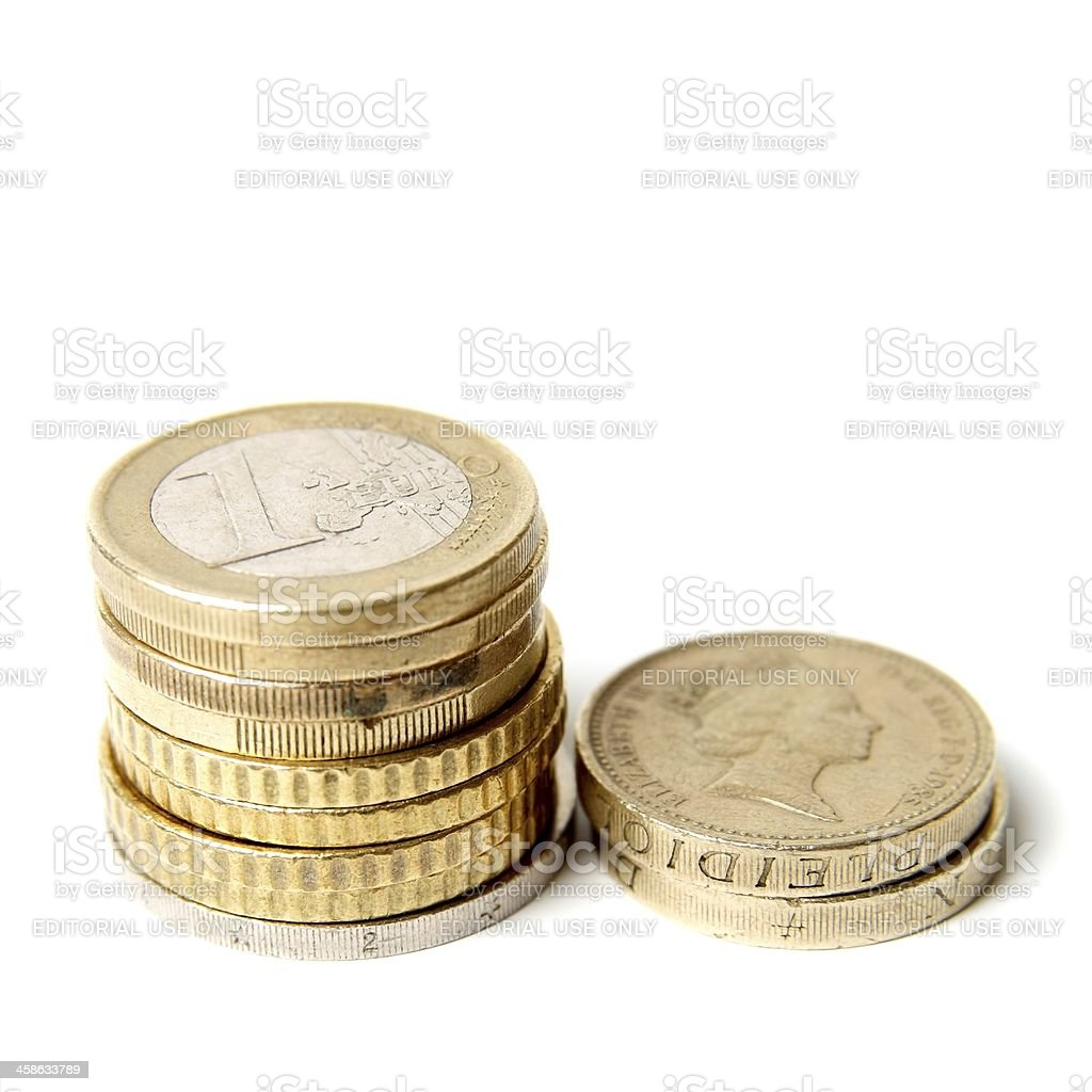 Euro and Sterling coins royalty-free stock photo