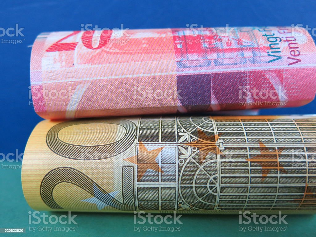 Euro and Swiss franc exchange rate stock photo