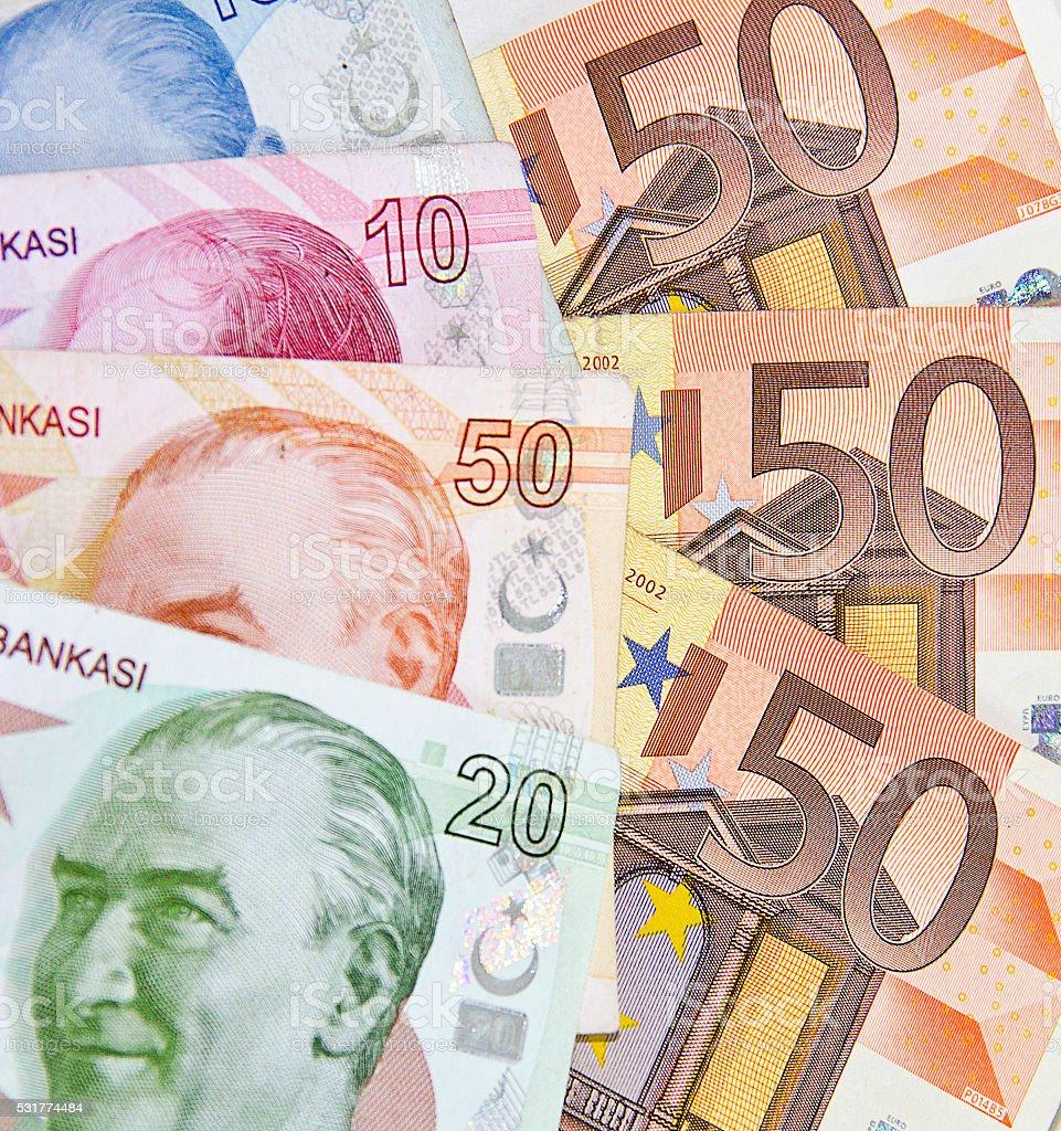 Euro and Turkish Lira stock photo