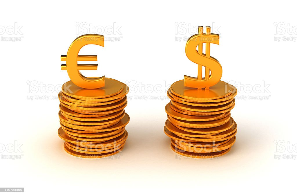 Euro and US dollar Currency equation royalty-free stock photo