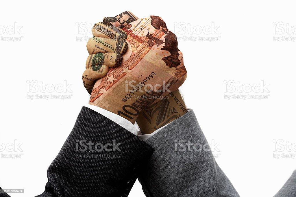 Euro and us economy struggle stock photo