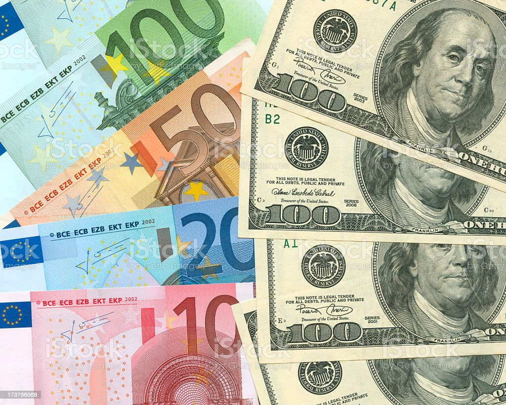Euro and USD exchange royalty-free stock photo