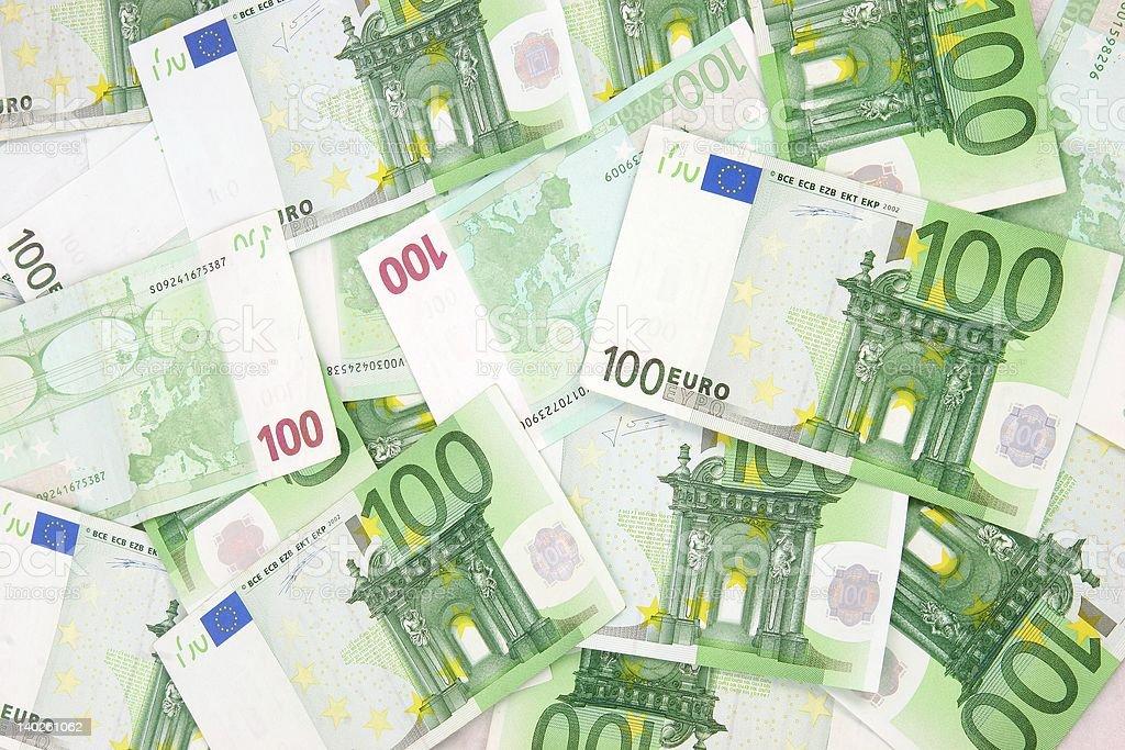 Euro Background 100 green everywhere stock photo