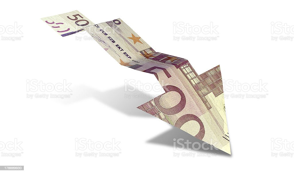 Euro Bank Note Downward Trend Arrow stock photo