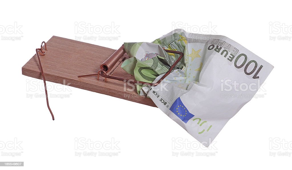 100 euro bank note in mouse trap stock photo