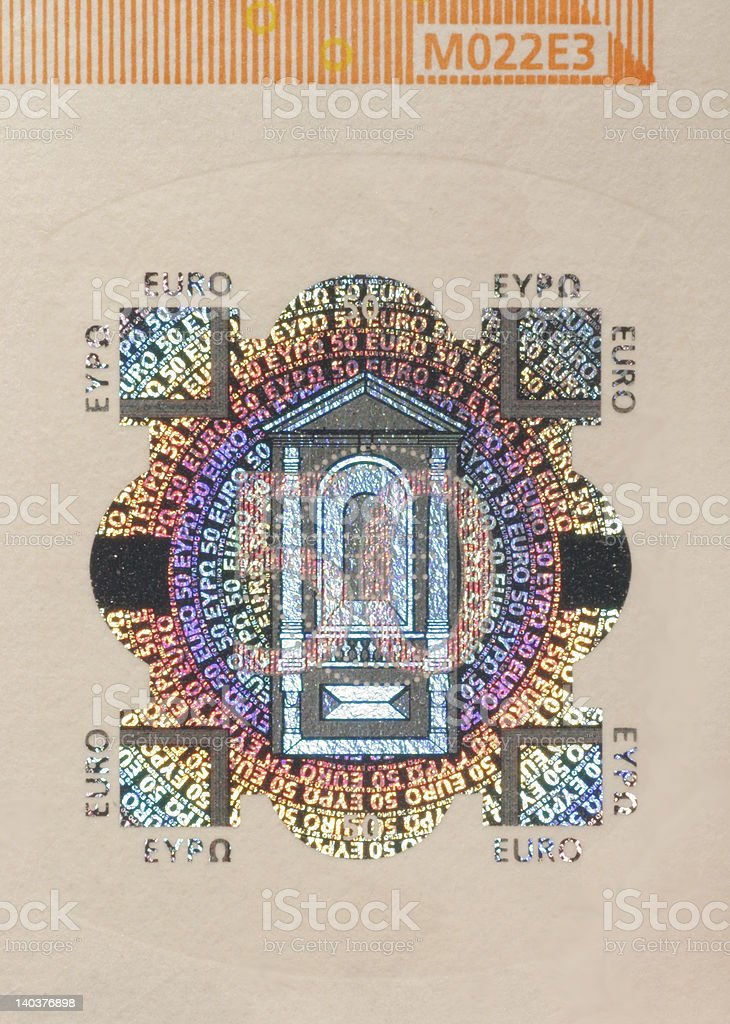 Euro bank note security mark royalty-free stock photo