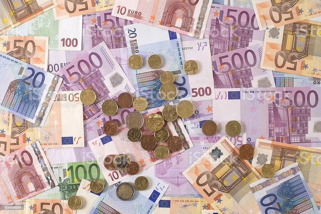 Money / Exchange - European Currency :  Euro Bank Notes And Coins stock photo