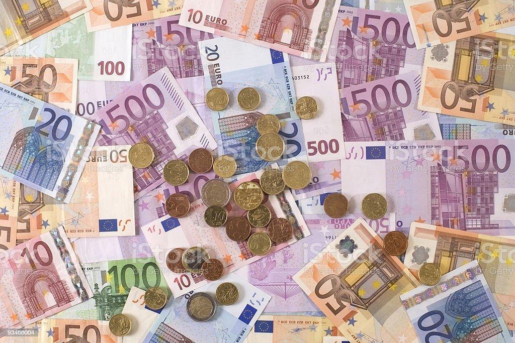 € euro bank notes and coins - european EU currency stock photo