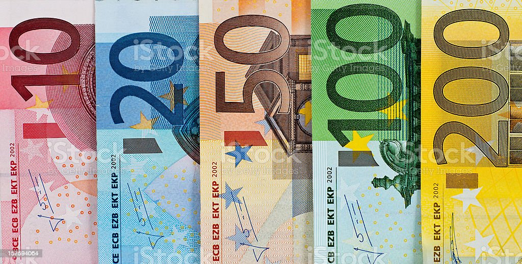 Euro bank notes currency stock photo