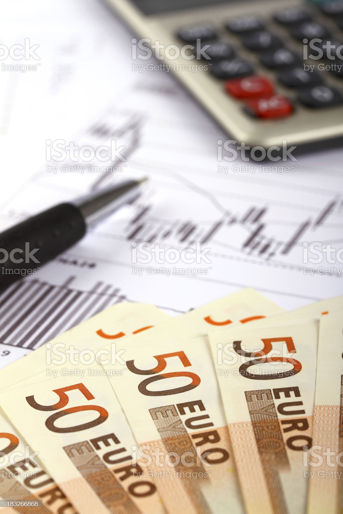 Euro bank notes with financial report royalty-free stock photo