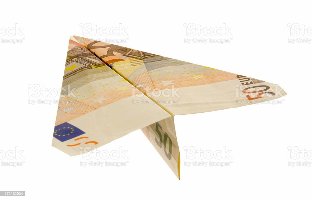 Euro Banknote Money Currency Paper Airplane on White Background stock photo