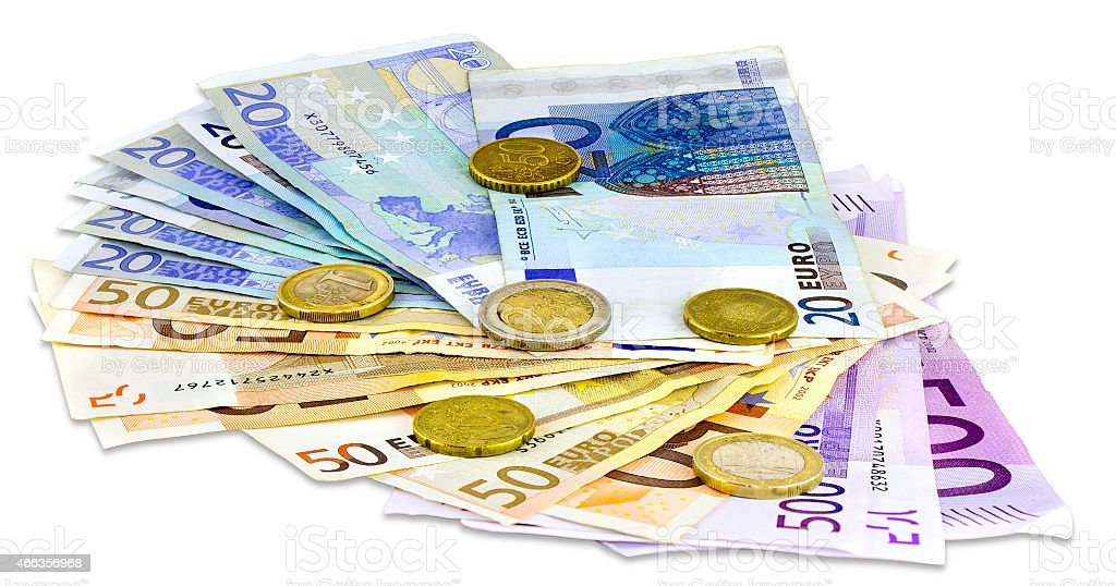 Euro banknotes and coins stock photo