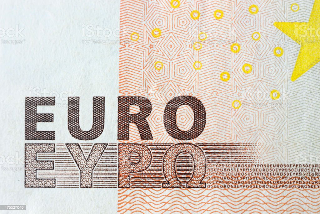 Euro banknotes, detailed text on a new fifty euro banknotes stock photo