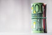 Euro banknotes. Euro currency. Euro money.