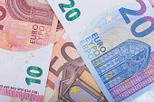 Euro banknotes. European Union Currency