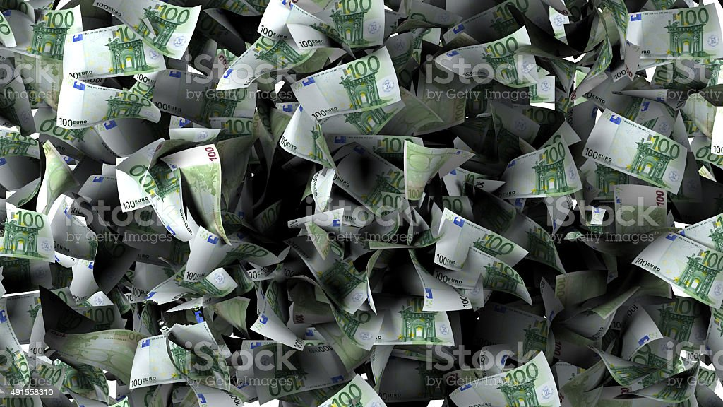 Euro banknotes in a pile stock photo