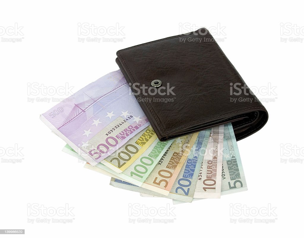 Euro banknotes in a wallet stock photo