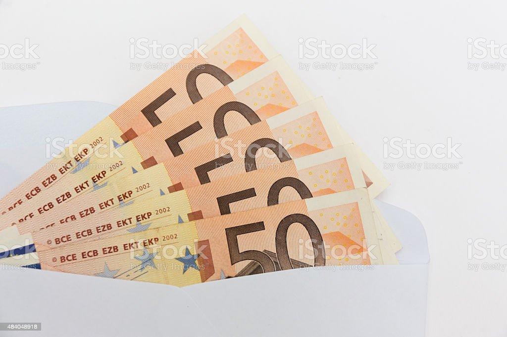 euro banknotes in envelope stock photo