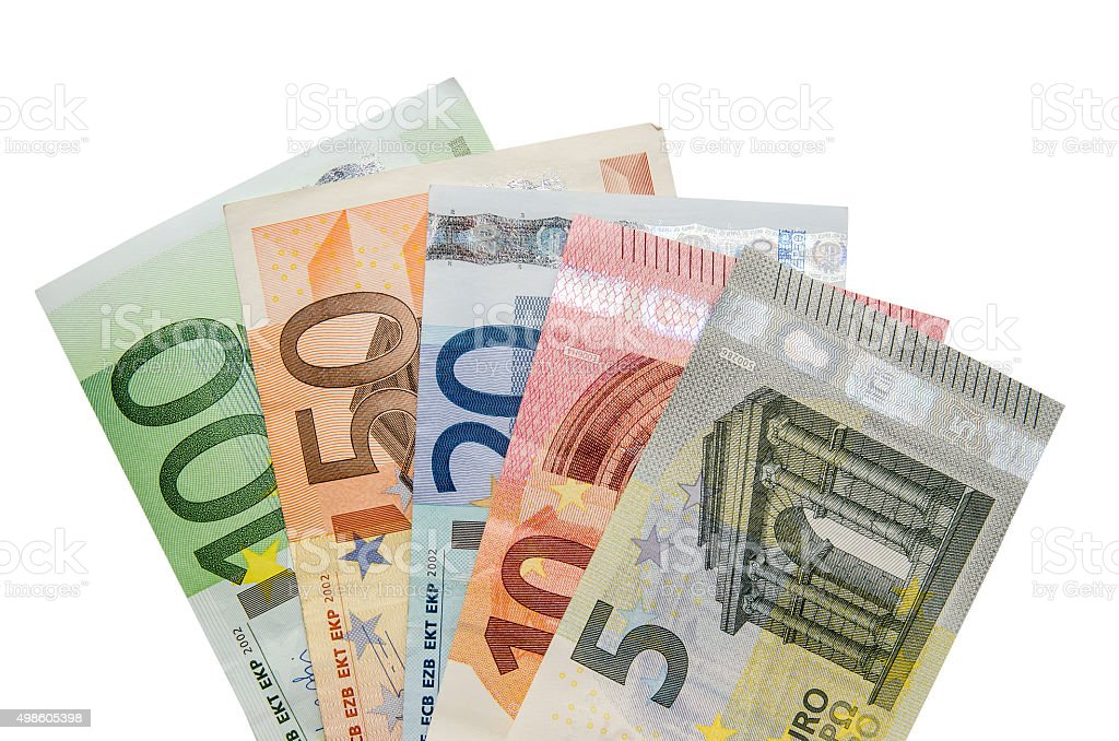 Euro banknotes isolated on white background stock photo