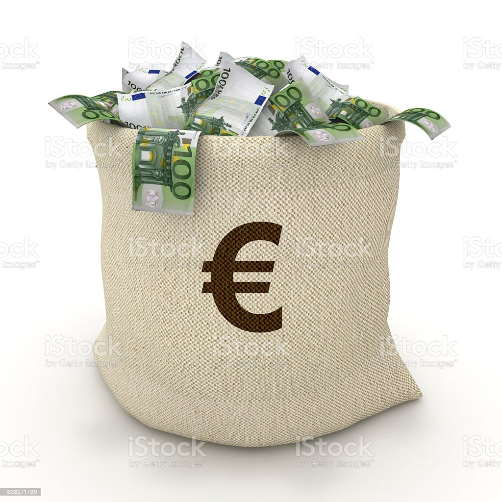 Euro banknotes money bag concept stock photo