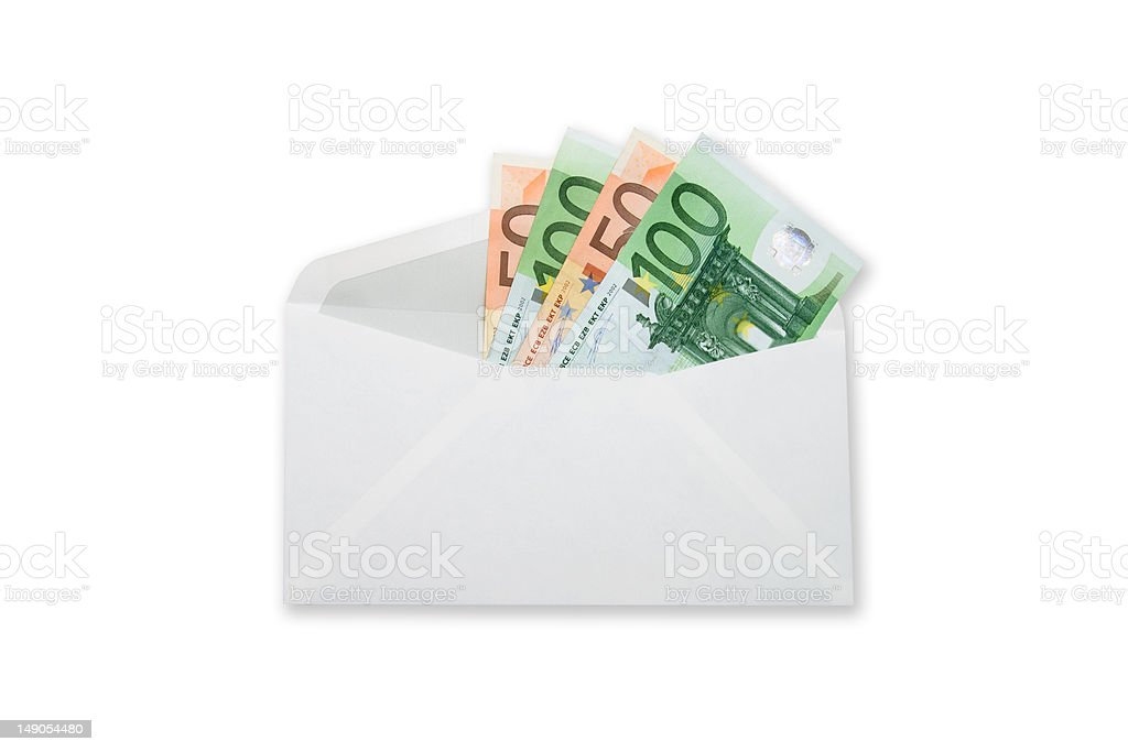 Euro banknotes money  in envelope. Clipping path included royalty-free stock photo