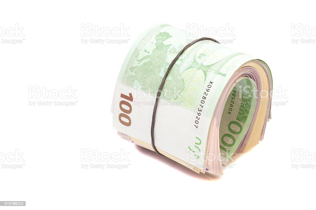 Euro banknotes under rubber band stock photo