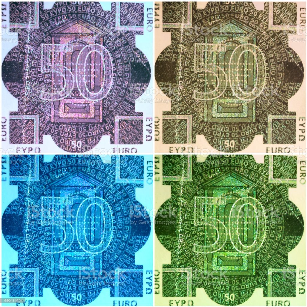 50 euro bill hologram collage stock photo