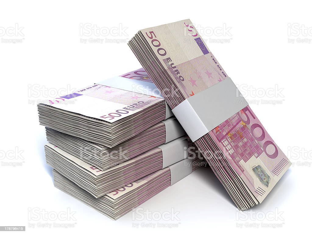 Euro Bill Pile Perspective stock photo
