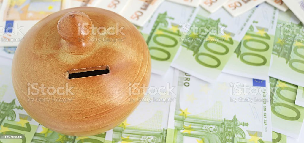 euro bills and moneybox royalty-free stock photo
