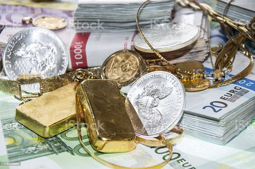 Euro Bills, Gold and Silver royalty-free stock photo