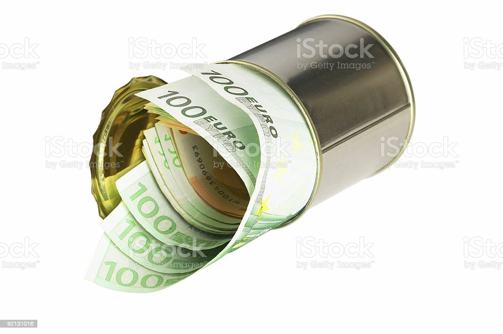 euro bills on a tin can royalty-free stock photo