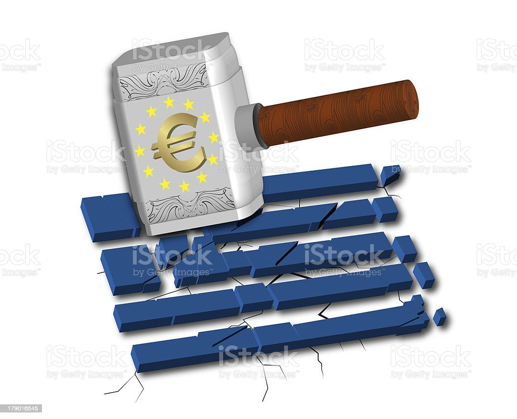 Euro Causes Recession at Greece royalty-free stock photo