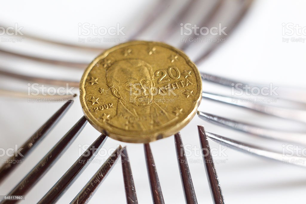 Euro Cent Coin Collapse stock photo