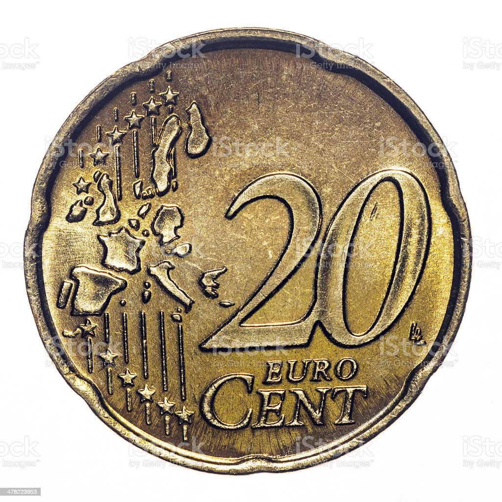 20 euro cent coin isolated on white (2002) stock photo