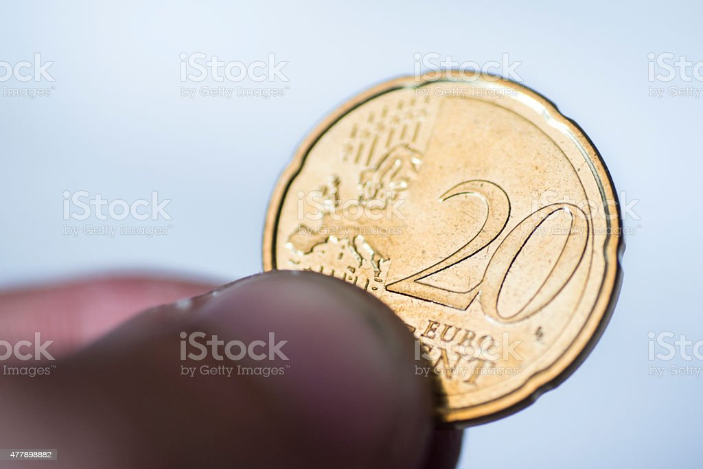 20 euro cent coin stock photo