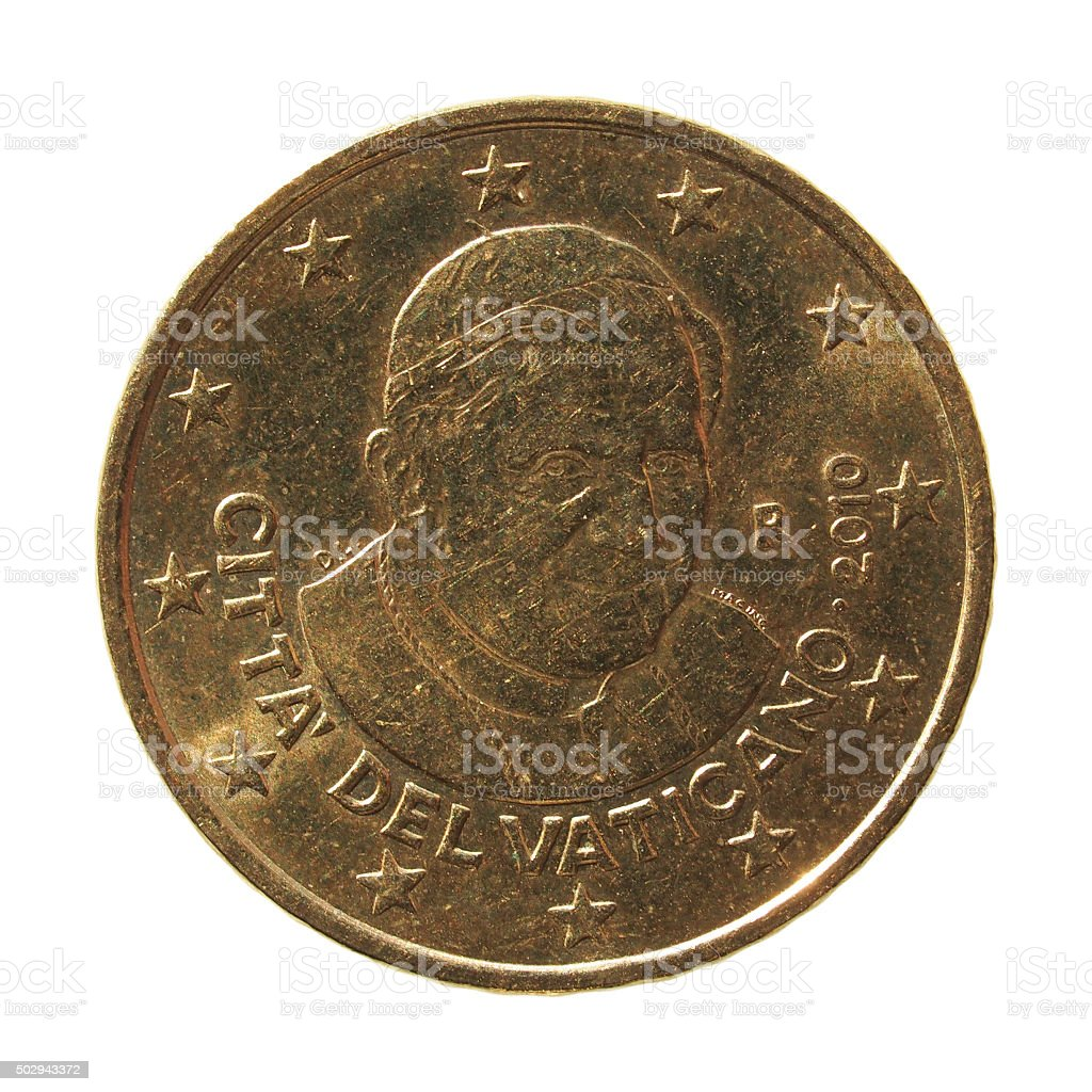 50 Euro cent coin with Pope stock photo