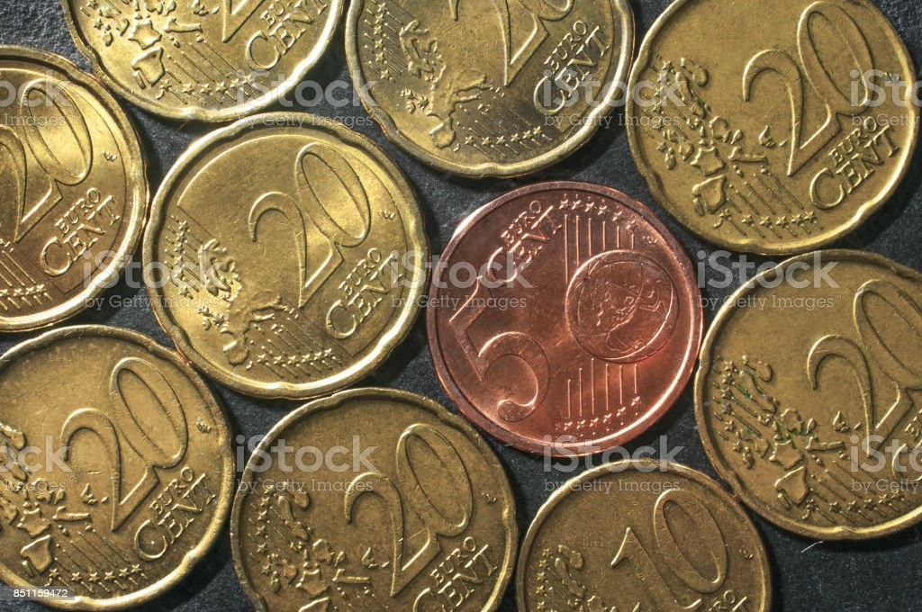 Euro cent coins mosaic stock photo