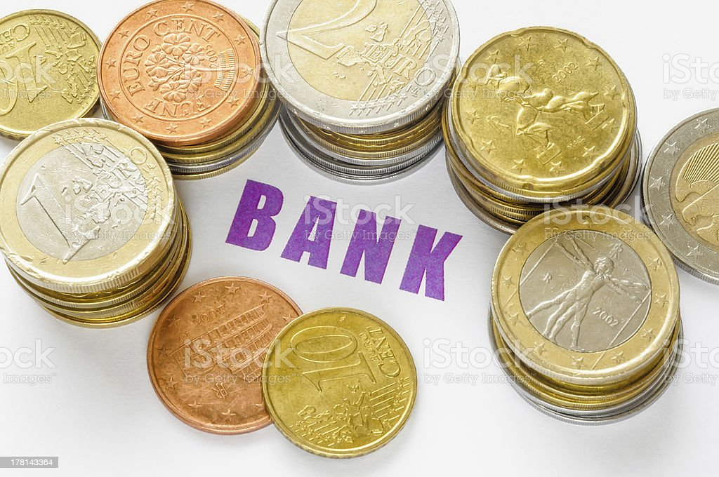 Euro, Cents and Bank royalty-free stock photo