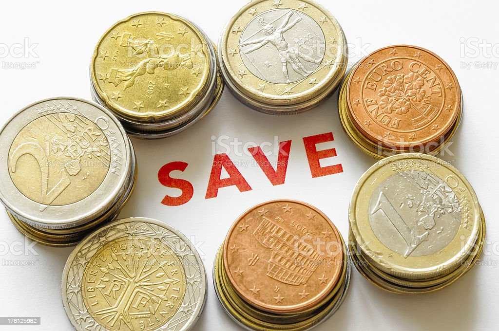 Euro, Cents and Save royalty-free stock photo