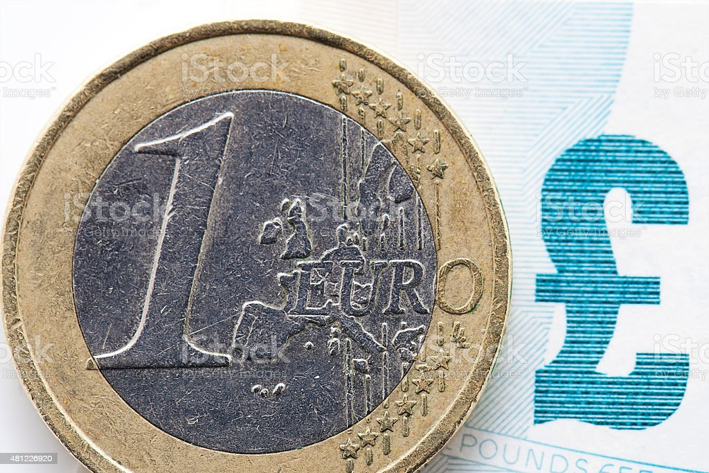 Euro Coin and Pound Sign stock photo