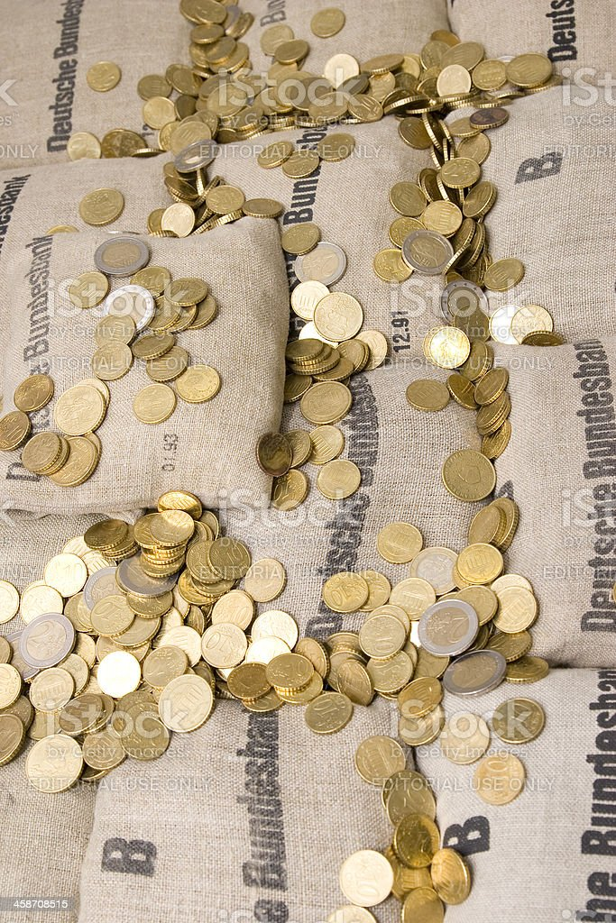 Euro Coin Bags royalty-free stock photo