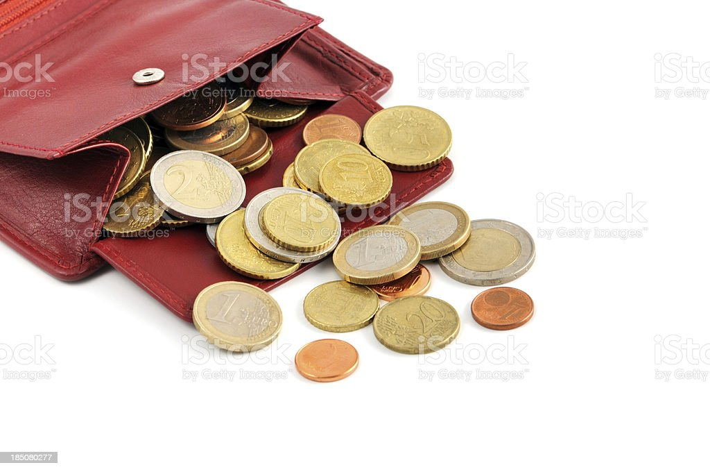 Euro coin falling out of wallet stock photo