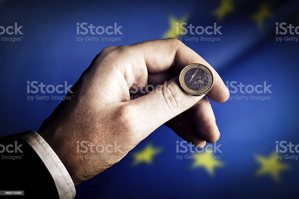 Euro coin flip royalty-free stock photo