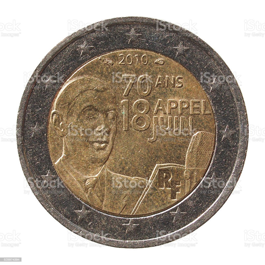 2 Euro coin from France stock photo
