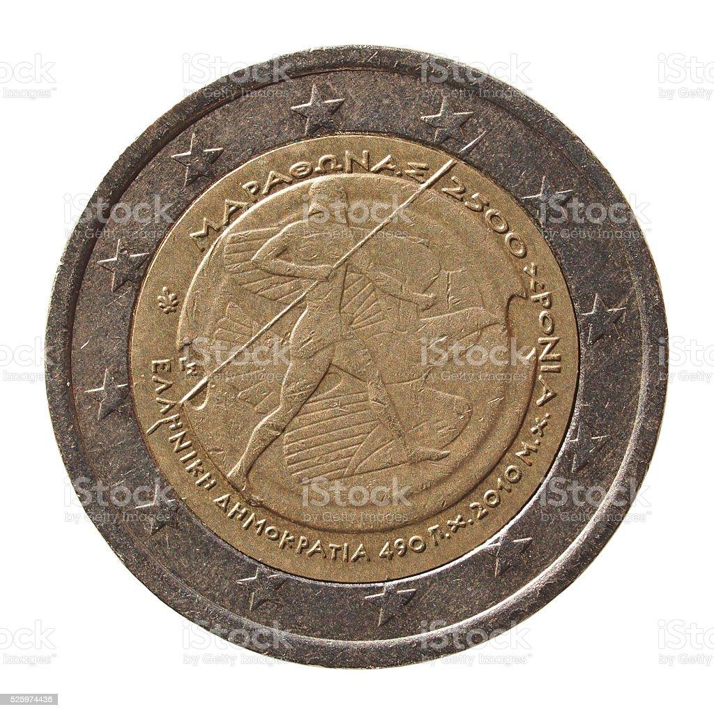 2 Euro coin from Greece stock photo