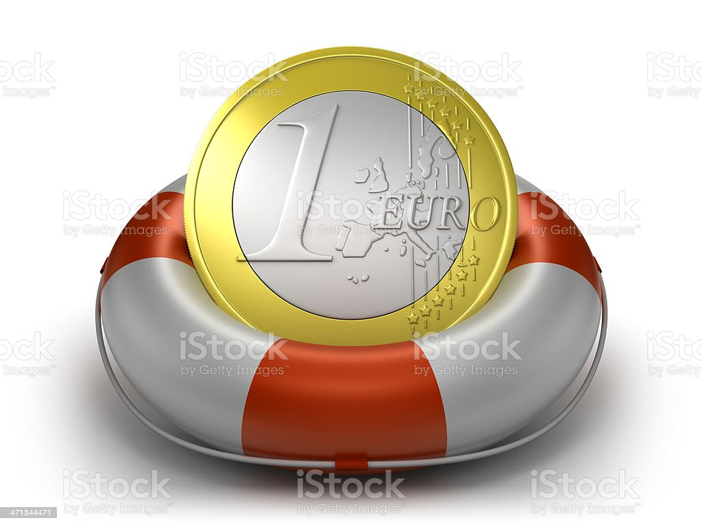 Euro coin in life preserver, isolated with clipping path royalty-free stock photo